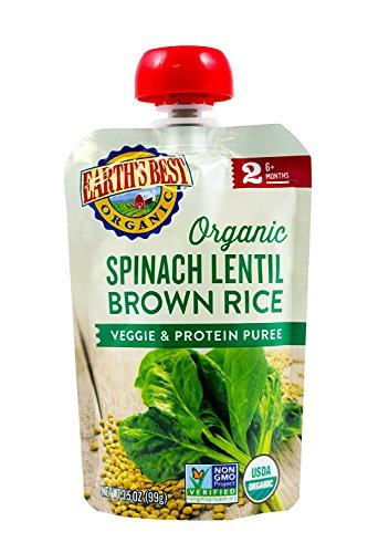 Earths Best Organic Peas Spinach Lentil Brown Rice Veggie Protein Infant Puree Pouch, 3.5 Ounce -- 12 per (Baby Spinach)