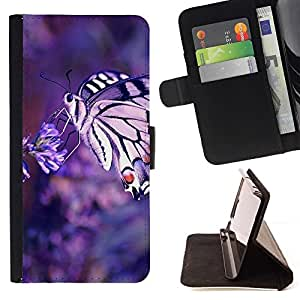 For HTC One Mini 2 M8 MINI Case , Naturaleza de la mariposa Macrp- la tarjeta de Crédito Slots PU Funda de cuero Monedero caso cubierta de piel