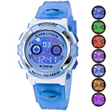 Kid Watch for Child Boy Girl LED Multi Function Sport Outdoor Digital Dress Waterproof Alarm Light Blue