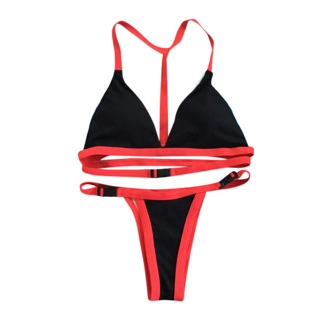 Hirolan Damenmode Sexy Solide Bikini Set Brasilianische Badebekleidung Beachwear Split Badeanzug High Waist Blumendruck Summer Beach Bikini Beachwear