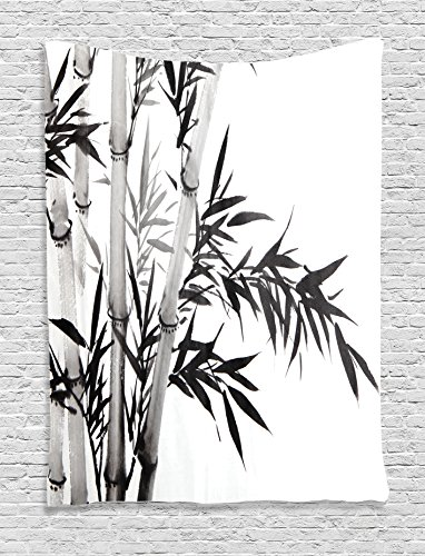 - Ambesonne Bamboo Decor Tapestry Wall Hanging, Bamboo Tree Illustration Traditional Chinese Calligraphy Style Asian Culture Decor, Bedroom Living Room Dorm Decor, 60 x 80 inches, Charcoal Grey White