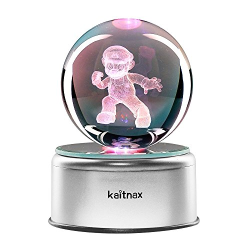 3D Cool Laser Etching Crystal Ball Night Light Gift Lamp for Kids Children Christmas ()