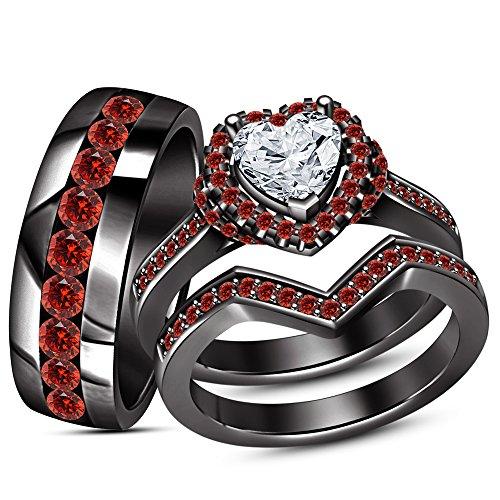 Shape Garnet Wedding Set (TVS- JEWELS White Heart Shape & Gemstone 925 Silver Black Rhodium Plated Trio Wedding Bridal Ring Set (Red Garnet))