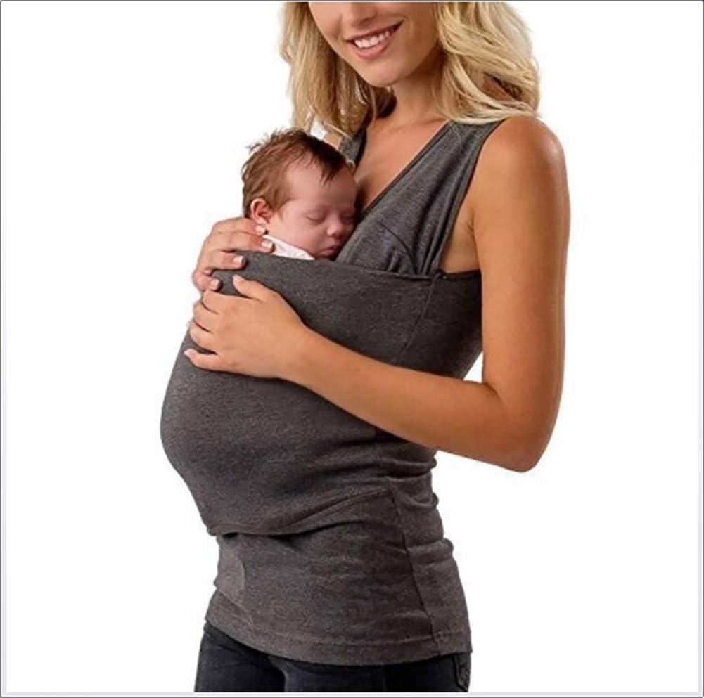 SHANGXIAN Kangaroo Mamma T-Shirt Pocket Top Gravidanza Allattamento al Seno Camicetta per la Cura del Bambino Baby Sleeping,Dad~A,M