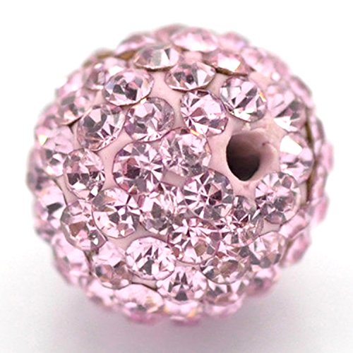 RUBYCA Pave Czech Crystal Disco Ball Clay Beads fit Shamballa Jewelry (20pcs, 10mm, Light Rose Pink) -