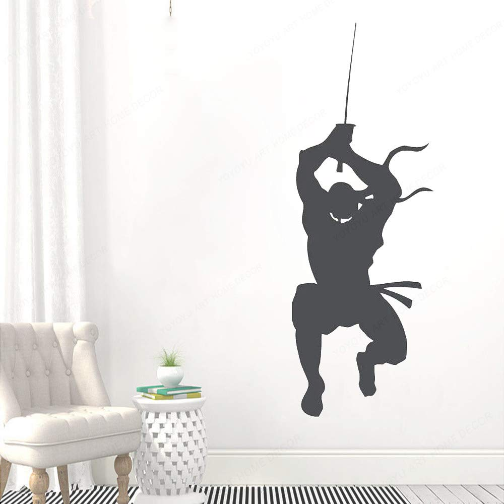 Kdis Room Boys Bedroom Removable Vinyl Wall Decals Ninja Fighter Warrior Samurai Swords Vinyl WallStickerDecoration HL 42x116CM