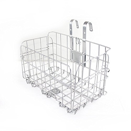 Front Mount Cargo Basket (Folding Rear Bike Basket,Sanmersen Wire Mesh Fold-Up Detchable Bicycle Front Handlebar Storage Rear Hanging bicycle Lift Off Basket Cargo Rack For Mountain Bike)