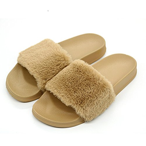 Faux Furry Fur Plush Cherry Camel With Non Baolustre Slippers Slippers Women's Slip Slippers pxHZZT