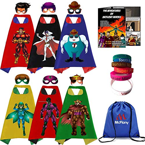 McFlony - Big Brother Gift Set - Superhero Capes, Masks, Bracelets for Kids, and Comic Book]()