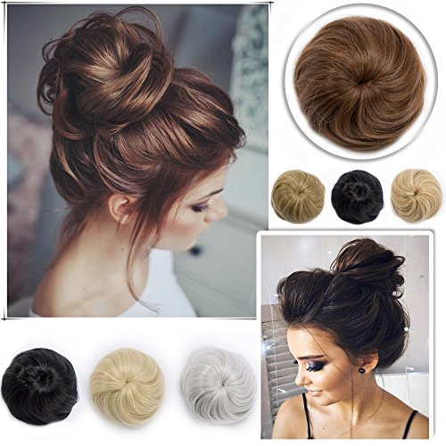 Elailite Drawstrings Hair Bun Synthetic Hair Extensions Chignon Comb Updo Hairpiece Donut Ribbon Ponytail Straight Hair Accessory for Women Jet ()