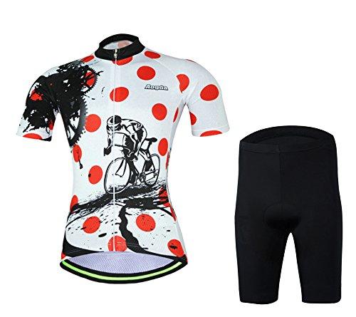 2017 Womens Short Sleeve Aogda Bicycle Cycling Jersey 3d Silicon Padded Bike Girls Skinsuits Shirt Bib Shorts Clothing Wear D914 (Shorts Set, L)