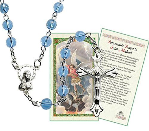 Italian Blue Glass Bead Rosary Especially for Police Officers with a Free HC Blessed by Pope Francis