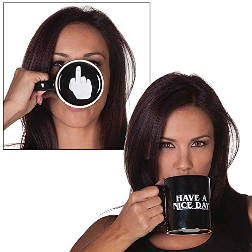 Vansaile Have A Nice Day Coffee Mug Middle Finger Funny Cup for Milk Juice or Tea, Black (Juice Mug compare prices)