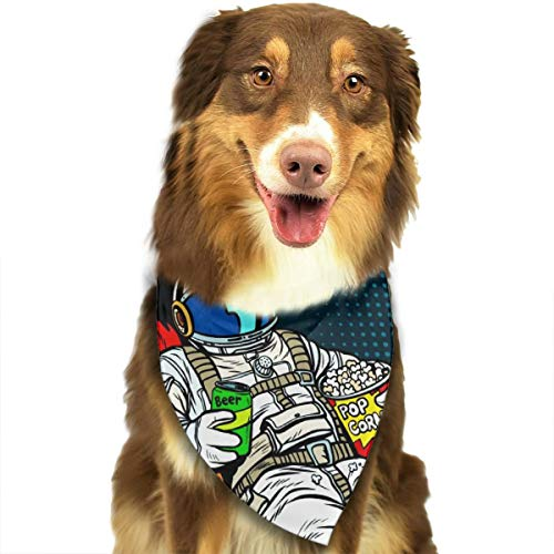 OURFASHION Astronaut The Audience with Beer and Popcorn Sitting in A Chair Bandana Triangle Bibs Scarfs Accessories for Pet Cats and Puppies -
