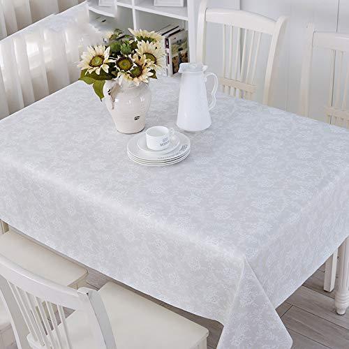 JUNGEN Mantel de Antimanchas Mantel de Mesa Cuadrado con Patron de Encaje Mantel de PVC del Impermeable Manteles Decorativos para Cocina Comedor Jardin Fiesta Picnic 137x137cm (Beige Blanco)