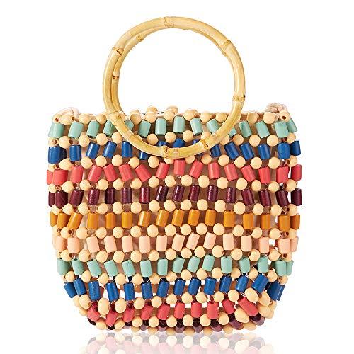 Handmade Beaded Hand-Woven Beach Bag, Mini Color Women Hand Straw Bag Shoulder Purse Bag Girls Summer Beach Bag