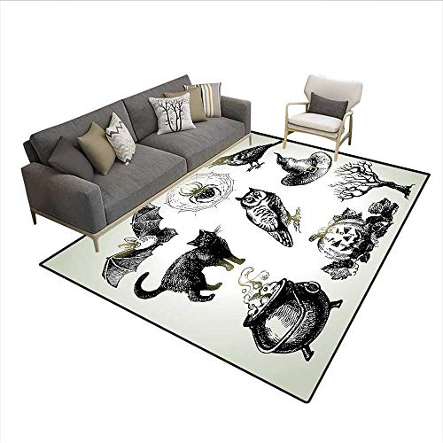 Carpet,Halloween Related Pictures Drawn by Hand Raven Owl Spider Black Cat,Non Slip Rug Pad,Black White 6'6