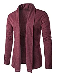CFD Mens Casual Solid Shawl Collar Knit Cardigans Sweaters