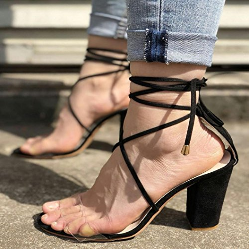 Muium Women Fashion Sandals, Ladies Summer Fish Mouth High Heeled Sandals Solid Color Cross Strap Party Shoes Black