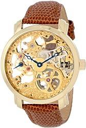 "Akribos XXIV Men's AK406YG ""Bravura Davinci"" Mechanical Gold-Tone Stainless Steel and Leather Watch"