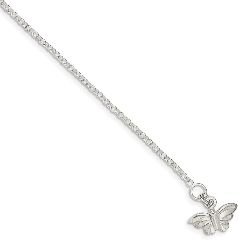 925 Sterling Silver 2mm Butterfly Chain Anklet