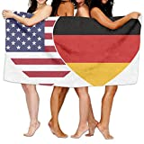 Unisex GERMANY USA Flag Twin Heart Over-Sized Cotton Bath Beach Travel Towels 31x51 Inch