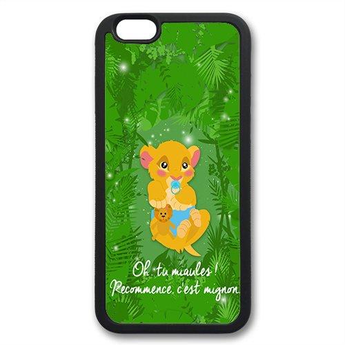 Coque silicone BUMPER souple IPHONE 7 PLUS -Roi Lion Simba Pumba the Lion King motif 1 DESIGN case+ Film de protection OFFERT