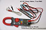 Digital Clamp-on AC/DC True RMS Ammeter Capacitor Tester 100 uF+Type K Thermocouple Data Hold Back Light Professional HVAC Electrian Repair Service Tool Set