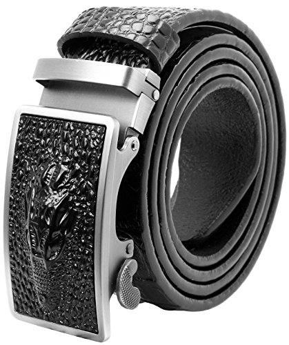 Falari Genuine Leather Dress Ratchet Belt Automatic Buckle Holeless Adjustable Size (Fit up to 40