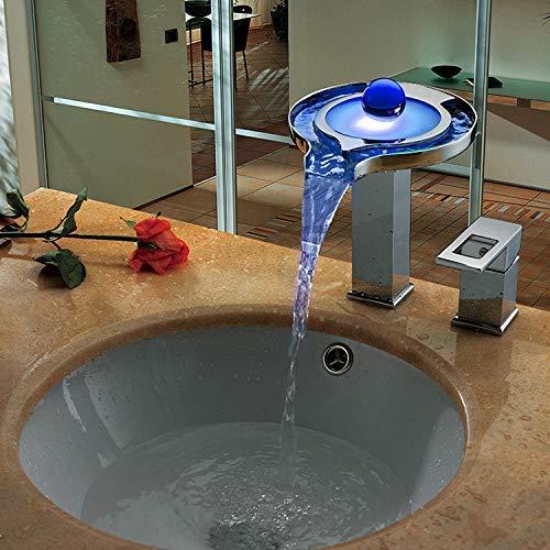 JingJingnet 洗面器ミキサータップ浴室のシンクの蛇口洗面器ミキサー2ピースled滝ウォーターバスの蛇口取り外し可能な洗面台 (Color : A) B07RXZZSJJ A