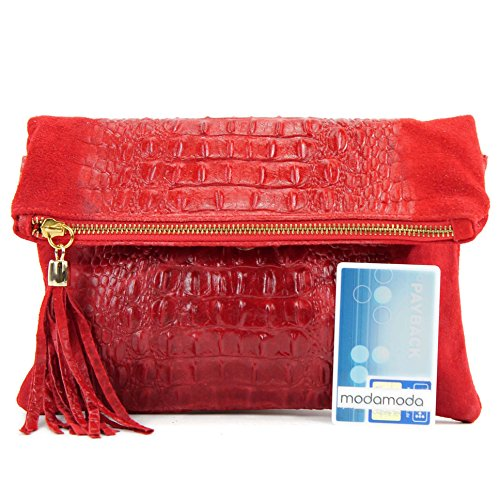 Leather Italian nappa T54 bag bag leather croco bag bag shoulder Wild leather Red underarm leather small shoulder Crocodile Wild Clutch ZArCUABq