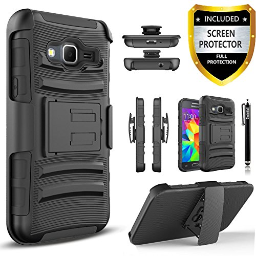 Circlemalls Dual Layers [Combo Holster] and Built-in Kickstand Phone Case Compatible for Samsung Galaxy Core Prime G360, with [Premium HD Screen Protector Included] Shockproof and Stylus-Black