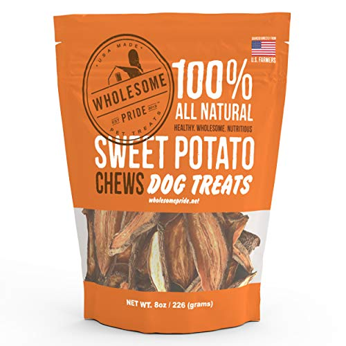 Wholesome Pride Pet Treats New Sweet Potato Chews Dog Treats - Grain Free, All Natural, Vegetarian, Made in The USA