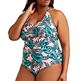chengzhijianzhu-Swimsuit 2018 Women's Cute Ladies Plus Size Beachwear Patchwork 1 Piece Bandage Bikini Swimsuit Bathing Suit Green