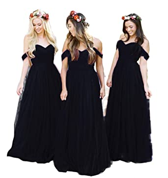 0a37600bf43 Fanciest Women s Off The Shoulder Tulle Long Bridesmaid Dresses 2018 Wedding  Party Dress Black US2