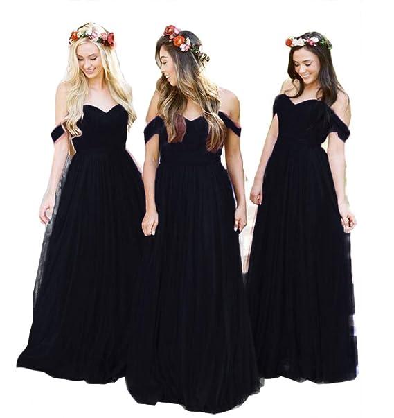 db4e95b7e07e4 Fanciest Women's Off The Shoulder Tulle Long Bridesmaid Dresses 2018  Wedding Party Dress