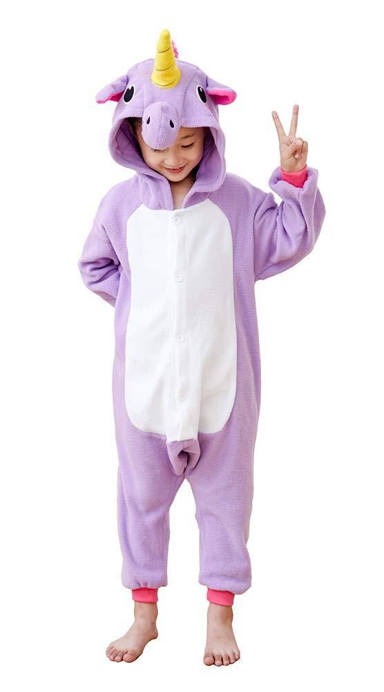 Kids Unicorn Onesies Costume Homewear,Unisex Teens Cosplay Pyjamas Sleepsuit Purple 6-8
