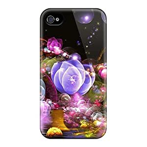 High Impact Dirt/shock Proof Cases Covers For Iphone 4/4s (3d Glowing Floral2)