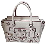 Coach Blake Carryall 25 IN Pebble Leather with All Over Butterfly Applique F59361 Chalk White Satchel