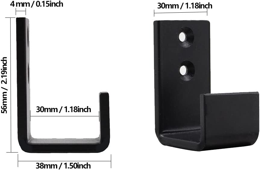 2PCS Floor Guides WINSOON Antique Sliding Barn Door Hardware Door Bottom Floor Guide Plastic Powder Coated Black with Screws