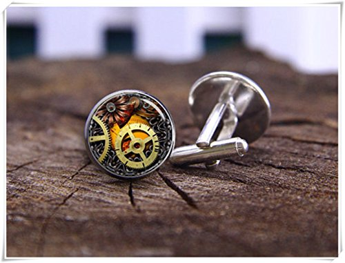 Steam Gear Cufflinks, Steampunk Cufflinks, Clock Movements Cufflinks, Steam Punk Wedding (Gear Clock Cufflinks)