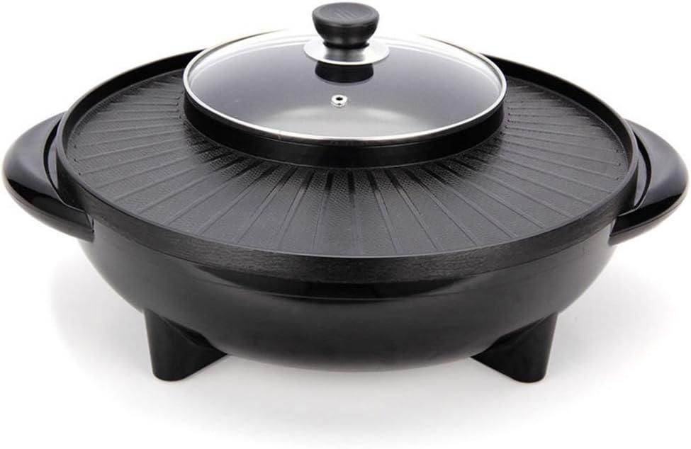 LYXLQ Placa eléctrica Grill, 2 en 1Electric Coreana Barbacoa Hot Pot, 1600W rápido Calefacción Antiadherente Ajuste de Giro Horizontal Perilla, se Puede hervir + Frito