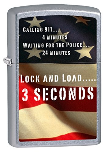 Zippo Lighter: Second Amendment, American Flag - Street Chrome ()