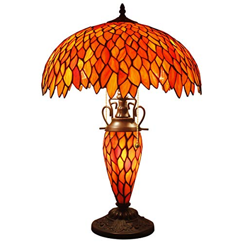 Red Wisteria Tiffany Table Lamp 24 Inch Tall Pull Chain 3 Light Stained Glass Base for Bedroom Beside Desk Lamp Antique Base for Living Room Coffee Table Bedroom S523R WERFACTORY