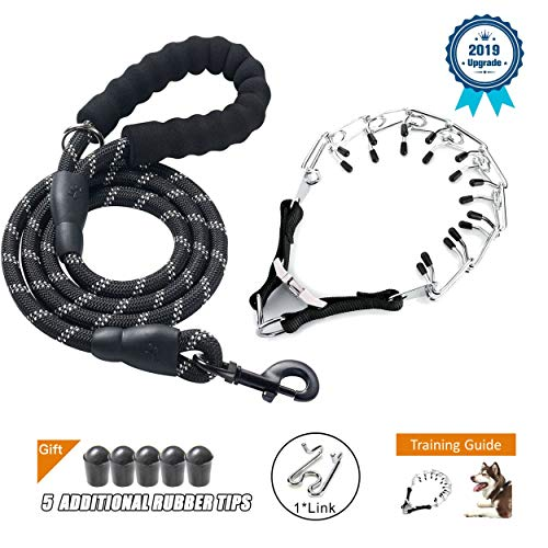 Deyace Dog Prong Collar, Professional Dog Pinch Training Collar, Stainless Steel Choke Pinch Dog Collar with Comfort Tips Heavy Duty Leash, Adjustable Size and Quick Release Buckle (Collar & Leash)