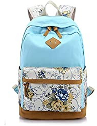 Vere Gloria Men Women Canvas Backpacks Color Block Flowers