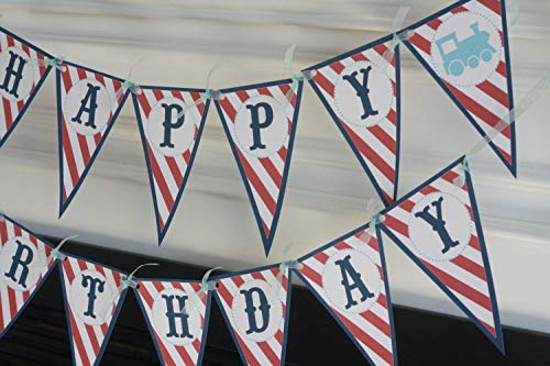 Happy Birthday Navy Red & Light Blue Stripe Pennant Vintage Train Choo Choo Boy Theme Banner - Matching Items Available - Signs, Favor Tags, Cupcake Toppers ()