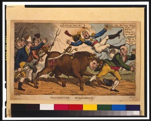 Photo: Manchester bull-hunt, 1819, John Bull, Manchester Yeomanry, Henry Hunt, magistrate . Size: 8x