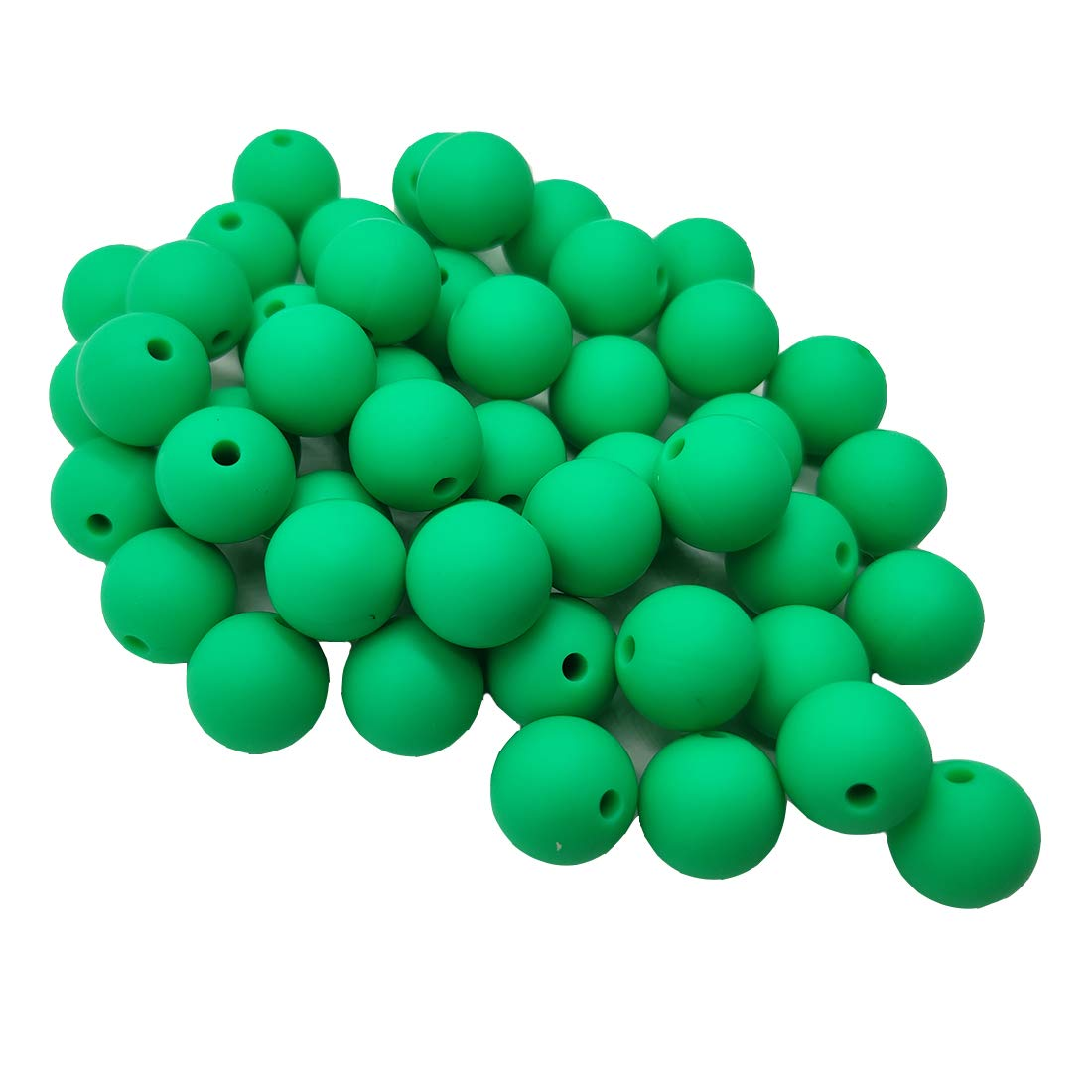 50pcs Kelly Green Color Silicone Round Beads Sensory 15mm Silicone Pearl Bead Bulk Mom Necklace DIY Jewelry Making Decoration