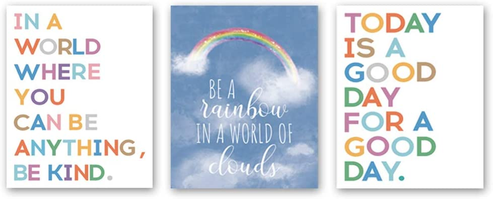 Sanrx Watercolor Inspirational Lettering Quote Art Print, Lovely Sky Rainbow&Clouds Painting Motivational Cardstock Wall Art Poster for Kids Room Classroom Home Decor (Set of 3, 8'' x 10'', Unframed)